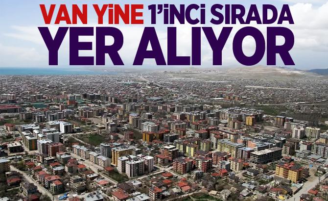 VAN YİNE 1'İNCİ SIRADA YER ALIYOR