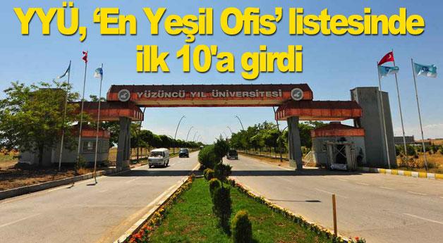 Van YYÜ, En Yeşil Ofis listesinde ilk 10'a girdi