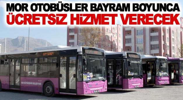 Mor otobüsler Bayram boyunca ücretsiz hizmet verecek
