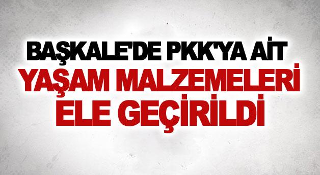 Başkale'de PKK'ya ait yaşam malzemeleri ele geçirildi