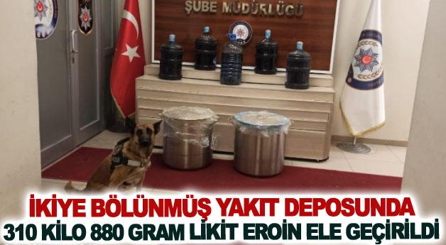 İkiye bölünmüş yakıt deposunda 310 kilo 880 gram likit eroin ele geçirildi