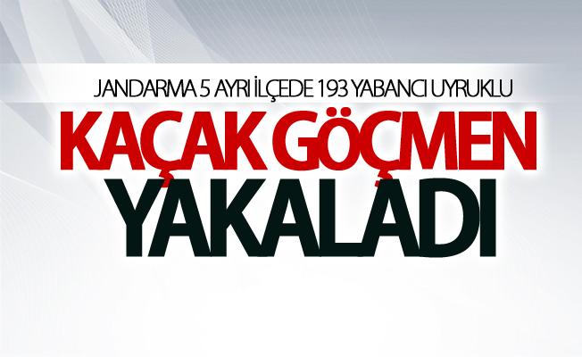 Jandarma 5 ayrı ilçede 193 yabancı uyruklu kaçak göçmen yakaladı