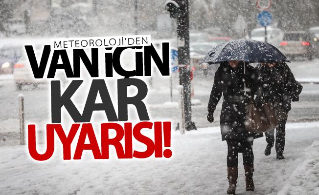 Van ve Hakkari için kar uyarısı